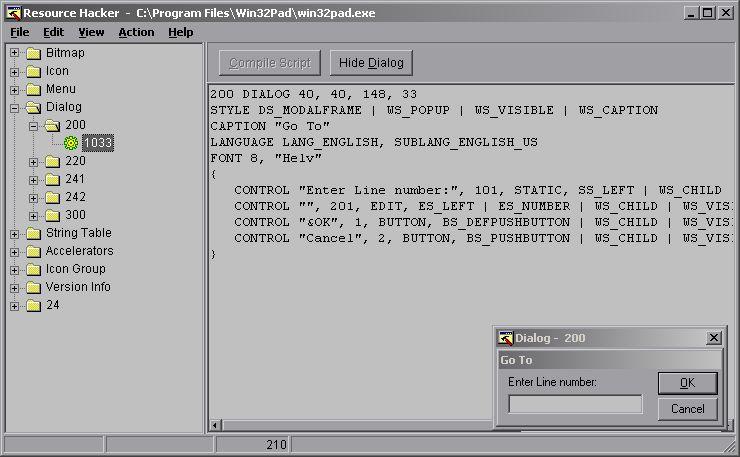 Диалоговое окно «Перейти к строке №» в win32pad.exe — открыто в ResHacker