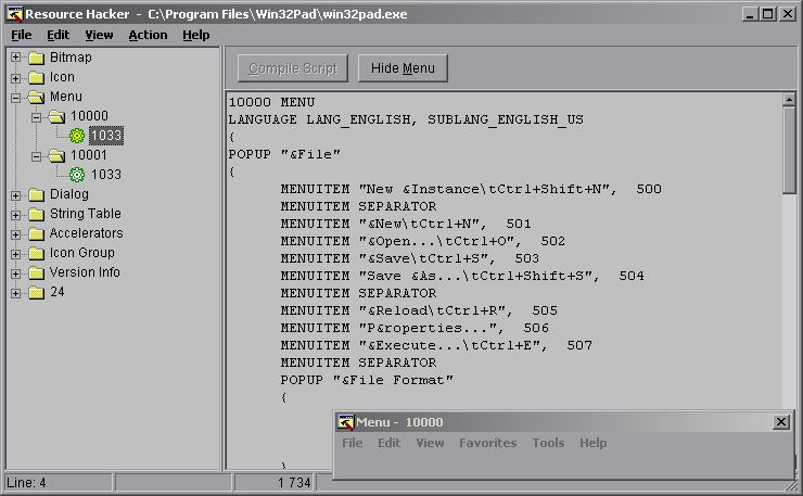 Ресурсы меню программы win32pad.exe — открыто в ResHacker